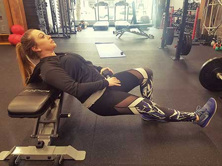Single Leg Glute Bridge (On a Bench) Position 1