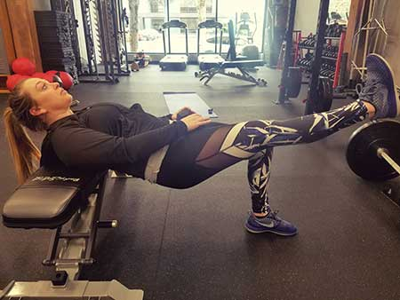 Single Leg Glute Bridge (On a Bench) Position 2